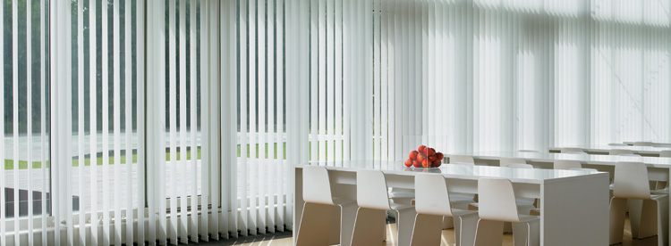 en vertical in roller and as louvres blinds dining